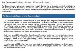 Sports section from the Canadian 2013 budget, presented to parliament in March and available in full at www.budget.gc.ca
