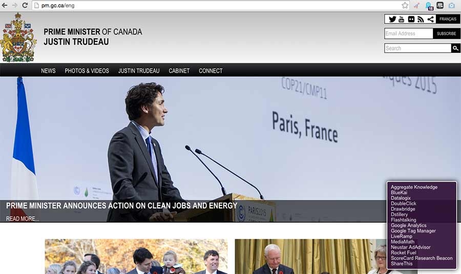 PMO website of Justic Trudeau