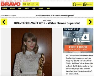 Taylor Swift with a Bravo Otto award